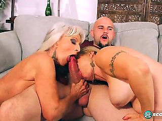 big tits, big ass, granny, mature, threesome,